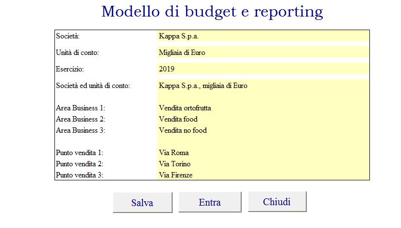 modello budget reporting