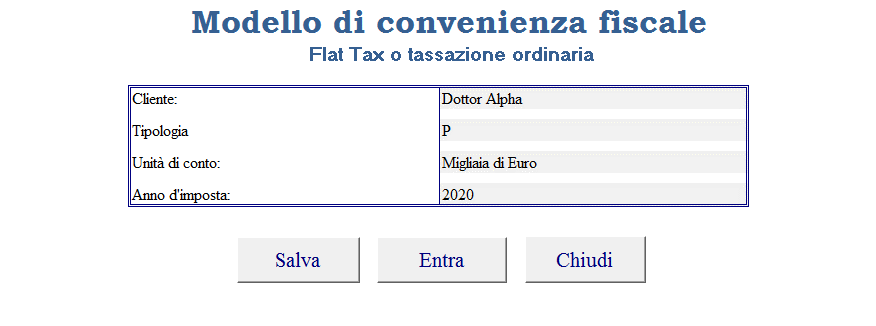 Modello convenienza fiscale