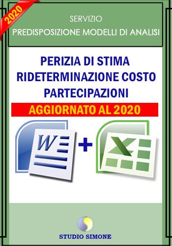 Perizia di stima rideterminazione costo partecipazioni con relazione in Word - Aggiornato al 2020